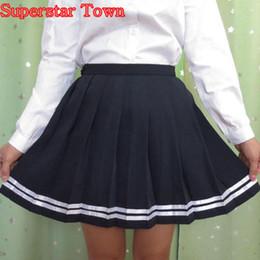 Wholesale Xl Gril - High Waist Pleated Skirts Women Japanese Striped Skirt School Gril Student Uniform Skirts Harajuku Summer Saias Lolita Clothes