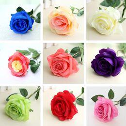 Wholesale Nice Display - Nice Rose Artificial Flowers Bouquet Bridal Wedding Bouquet Wedding Party Home Decorative Flowers 200pcs lot T2I088