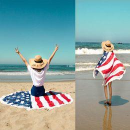 Wholesale flag mats - American Flag round Beach Towel Round Throw Rug Boho Tapestry Yoga Mat Picnic Throw Towel Mat Blanket FFA420