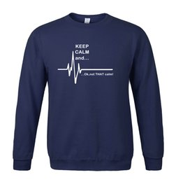 Wholesale Funny Tracksuit - Men's sportswear 2017 hoodies men Keep Calm and...Not That Calm Funny EKG Heart Rate print fashion sweatshirt fleece tracksuits