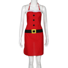 украшения для шеф-повара Скидка Christmas apron Decoration Santa Apron Home Kitchen Cooking Baking Chef Red Decor Modern cute F80