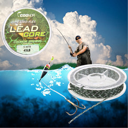 Wholesale carp leads - lead core 45lb 5m Leadcore Camouflage Carp Braided Fishing Line Hair Rigs Lead Core Tackle Fishing Accessories