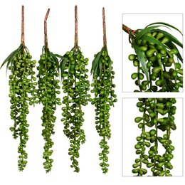Wholesale Artificial Flower Strings - Artificial Succulent Plants String of Pearls artificial hanging string of pearls plant fake succulent hanging Lover Tears Plants Basketplant