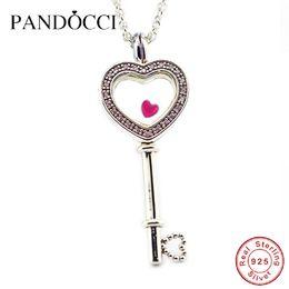 Corazón rosa luces online-venta al por mayor gran amor flotante corazón medallón collar clave rosa claro CZ 925 plata esterlina joyería europea