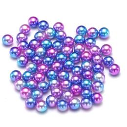 Wholesale nail art round - Purple Rainbow No Hole Round Pearls Imitation Pearls Craft Art Diy Beads Nail Art Decoration