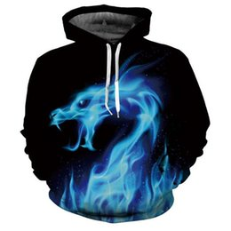 Wholesale Fire Belts - Hot Fashion Hoodies Men women 3d Sweatshirts Print Fire Dragon Hooded Hoodies Snake Sweatshirts Unisex Pullovers