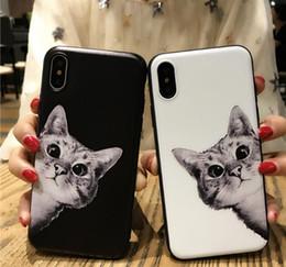 Argentina Cubierta simple de la caja del teléfono del gato del negro blanco de la moda para el iPhone Xs max Xr cheap white simple phone case Suministro