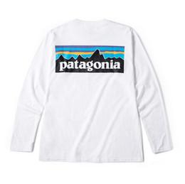Projetos para tshirts on-line-Mens Outono Assentamento Designer Tshirts Branco Patagonia Montanha Design O Pescoço Tshirt Tops