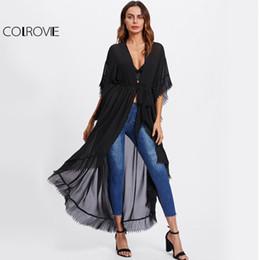Wholesale Dip Hem - COLROVIE Black Pleated Long Kimono Casual Tie Waist Women Dip Hem Loose Thin Blouse Tops Fall 2017 Fashion Half Sleeve Kimono