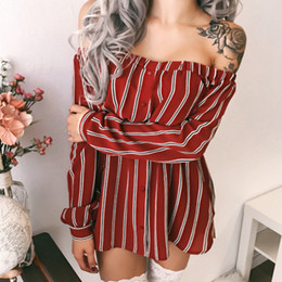 90afba855 2018 novo estilo de verão venda quente vestido de mulheres listrado  vertical partido meninas manga longa fora do ombro solto vestidos