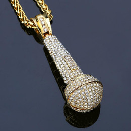 Wholesale microphone necklace jewelry - 2018 new microphone hip-hop Pendant Necklace Hip hop Jewelry 18k golden Necklace full Diamond for women men gifts