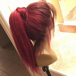 devant en dentelle de cheveux rouge foncé Promotion Perruques de cheveux humains Ombre Bourgogne soyeux droites complet de dentelle avec des racines sombres 99j perruques de dentelle de vin rouge avant pour les femmes noires