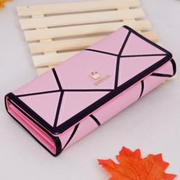 Wholesale Magnetic Card Locks - 12Pcs Ladies Long Wallets Holders Geometric Styles crown Magnetic Buckle purse Mobile Phone Bags Six Colors For U Choose