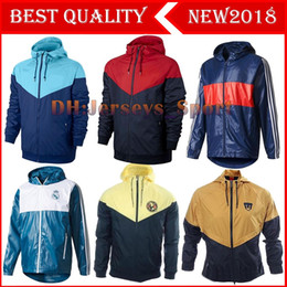 Wholesale Authentic Soccer - 17 18 Club America Yellow Authentic Windrunner Hoodie Best Quality Chamarra Rompevientos America Jacket America Yellow Training Hoodie