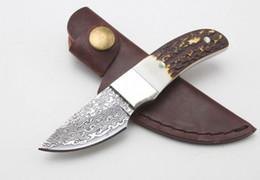 Мини фиксированной лезвие Дамаск нож олень Рог ручка карманные ножи EDC инструмент собирать нож подарок Xmas для человека 1 шт. бесплатная доставка от