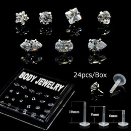 Showlove-24Pcs/Box Surgical Steel Bioplast Different Zircon Labret Ear Tragus Cartilage Earring Lip Ring Piercing Body Jewelry от