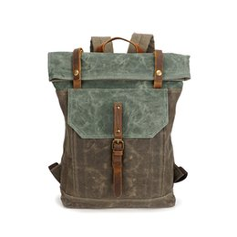 Wholesale vintage satchel bags for men - 2018 Mens Backpack Vintage Shoulder Bags Student School Bag Travel Bags for Men Waterproof Canvas Bagpack Cool Fashion Outdoor Sport Bags