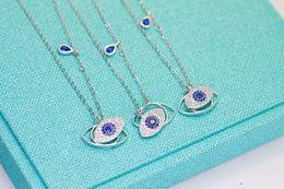 Wholesale Sterling Silver Evil Eye Charms - wholesale Luxury 100% 925 Sterling Silver Austrian crystal Blue Rye Pendant Necklace For Women Turkey Evil Eye Charm Necklace Fine jewelry