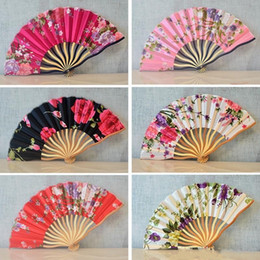 ladies ornament Promo Codes - Fabric Art Ornament Women Fan Retro Classic Ladies Hand Held Cherry Blossoms Folding Fans Party Favor Gift 3 7mq KK