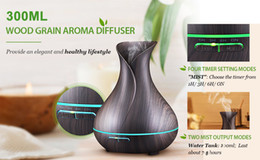 Wholesale Office Aromatherapy - 300ml Aromatherapy Essential Oil Diffuser, Ultrasonic Cool Mist Humidifier with Wood Grain Design for Office, Room, Spa
