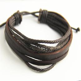 muster charme armbänder Rabatt ganze sale2017 Vintage Einfache Armbänder Mode Für Männer Mehrschichtige Braune Lederband Kette Braceleta Schmuck pulseras hombre