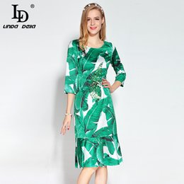950ce8153a 2017 Designer Runway Summer Dress Women s 3 4 Sleeve Beading Sequined Casual  Green Banana leaf Floral Printed Ruffles Dress