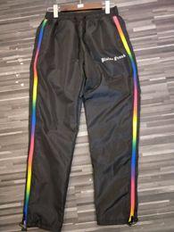 Regenbogenseite online-2018 Palm Angels Gestickte Buchstaben Rainbow Stripe Side Zip Splice Jogginghose Hip Hop Männer Frauen Casual elastische Taille Hosen