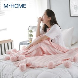 Wholesale Full Cotton Blanket - 100% Cotton Knitted Thread Blanket high quality knit blanket Solid for Summer Spring Autumn on Sofa Bed 150*200cm Free shipping