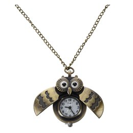 Wholesale idea style - Lovely Owl Style Delicate Design Pocket Watch with ChainRetro Style Pocket Watch, Gift Idea