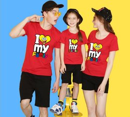 Wholesale Love Matching Clothes - I Love My Family New Family T-Shirt Cotton tshirt Mother And Daughter Father Son Clothes Matching Princess Prince