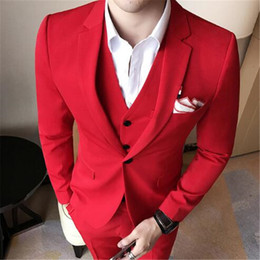Wholesale korean style jackets for men - Korean Slim Style Men Suit 3Pieces(Jacket+Pant+Vest+Tie) Custom Made Latest Design Wedding Groom Prom Blazer For Man