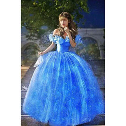 Wholesale Princess Night Gowns - 2018 New Women Dress Ruffled Tulle Off Shoulder Cinderella Princess Adult Cosplay Costume Women Party Blue Dress