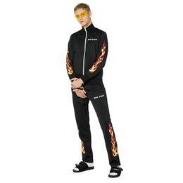 Pantalones morados de hip hop online-Nueva Palm-Angels de lujo europeo de verano y primavera pantalones marea llama púrpura pantalones negros cremallera deportes Casual hip-hop pantalones HFWPKZ043