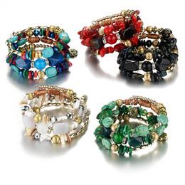 Wholesale Chakra Gemstone Set - Wholesales 21cm Girth Faux Turquoise Gemstone Chakra Natural Stones Charm Bracelets Retro Beaded Alloy Bracelets for Women