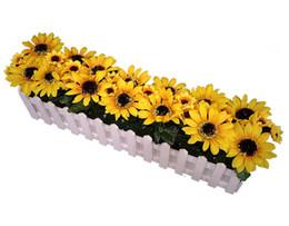 Recinzione di fiore artificiale online-Recinzione in legno 50cm con fiori artificiali in stoffa decorazione floreale finta
