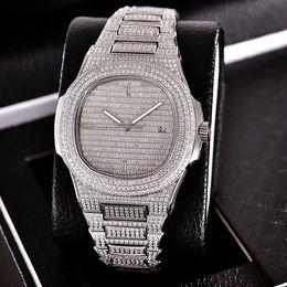 Wholesale swiss style watches - Lxury Style Swiss Automatic Sapphire Glass 40mm Full Diamonds Watch for Men