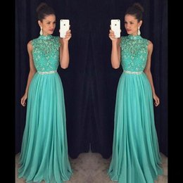 Wholesale Aqua Chiffon - 2018 Hot Sell Aqua Green Beaded Prom Dresses A Line Halter Neck Sequined Beaded Sash Long Evening Gowns Formal Pageant Party Wears BA7556