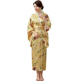 2019 vestidos de seda japoneses Mujeres japonesas tradicionales Rayón de seda Kimono Vintage Yukata con Obi Performance Dance Dress Disfraz de Halloween One Size HL04 rebajas vestidos de seda japoneses