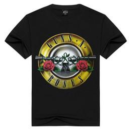 punk band tees Promo Codes - Rock Gun and Rose Print T-Shirt Mens Designer Tops Guns roses band tees metal punk rap style men's tshirt