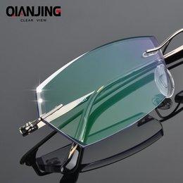 diamante sem aro Desconto Qianjing novos homens moda óculos titanium sem aro óculos de armação de diamante decorações quadro ótico com óculos de prescrição