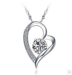 Wholesale Swarovski Elements Hearts - High quality Austrian crystal Diamonds Love Heart Pendant Statement Necklace Fashion Class Women Girls Lady Swarovski Elements Jewelry