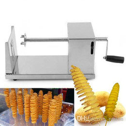 Wholesale tornado potatoes cutter - Wholesale 2016 New Stainless Steel Manual Spiral Potato Chips Twister Slice Cutter Tornado Hot Free shipping