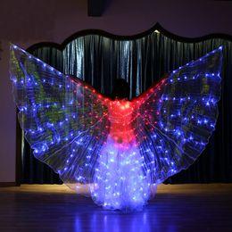 Argentina Intermitente Color Variable Danza del Vientre Alas LED Butterfly Dancer Costume Mujeres Brillante Oriental Indio Bellydance Dancing Accesorio cheap dancers led costume Suministro