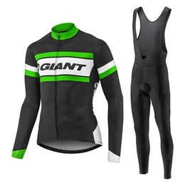Wholesale Bicycle Giant Jersey Long - 2017 Autumn and Winter Giant Cycing Jersey Long Sleeves Bib Pants Ropa Ciclismo Bike Bicycle Cycling Clothing MTB Riding Sports Suit Jersey