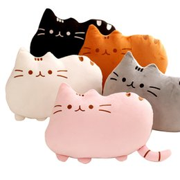 Wholesale anime skin - 40 *30cm Pusheen Cat Pillow With Zipper Only Skin Without Pp Cotton Biscuits Kids Toys Big Cushion Cover Peluche Gifts