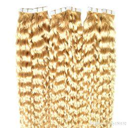 Haarband lockt online-Band in der Menschenhaar-Erweiterungs-Blondine 60 # tiefe Wellung 30 Zoll-Haut-Schuss-Haar-Salon-Art 40pcs / pac
