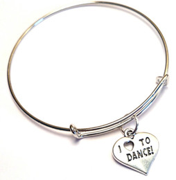 Wholesale charm bracelets dance - 12pcs lot I love to Dance bracelet Charm bangles adjustable Jewelry Dance Team Gifts Dance Sister