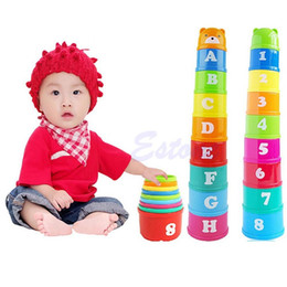 Wholesale Educational Letters - Wholesale- New 1 Set Baby Children Kids Educational Toy Figures Letters Folding Cup Pagoda