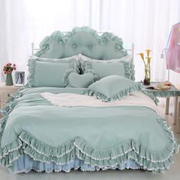 Корейские наборы для постельных принадлежностей онлайн-Korean ruffles  Bedding Sets Twin Queen King Size 4/6/8 pcs Bedclothes 100% Cotton  Duvet Cover Set