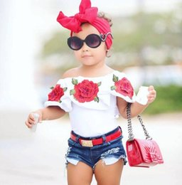 Wholesale girls 18 month shirt - Hot Sale! 2018 Summer Baby Kids Girls Clothes 3D Flower print sleeveless Ruffle round neck pullover T-Shirts Denim Hole Pants 2pc cotton Set